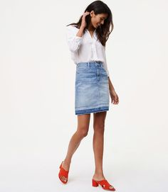 With a cool unpicked hem, this denim style is a fresh take on a classic silhouette. {affiliate link}