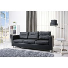 This Detroit series sofa features a sleek contemporary design to bring both comfort and style to your home. This European-style sofa is upholstered in durable black polyurethane with detailed stitching.