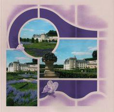 """Voici encore une page réalisée avec des photos prises au Château de Villandry cet été. Les """"perovskia"""" violettes m'ont inspirées!! La mise en page est travaillée à l'aide du gabarit """"Londres"""" et le décor à l'aide des tampons """"Automne"""" (en fond) et des..."""