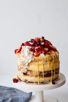 Lemon, Coconut and Berry Layer Cake with Lemon Curd and Torched Meringue