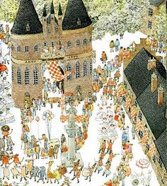 The interior of one of Anno's books. His illustrations often enter the realm of fantasy. One has to really examine each page to discover all the little details.