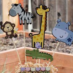 Safari Jungle animal themed party centerpiece by ladybugkarla, $20.00