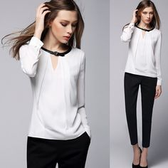 #aliexpress, #fashion, #outfit, #apparel, #shoes White, #Blouse, #2016, #Spring, #European, #White, #Shirts, #Blouse, #Women, #Semi-open-necked, #Simple, #Shirt, #Long-sleeve, #Tops, #Female, #Chiffon, #Blusas http://s.click.aliexpress.com/e/qvvJQjiuV