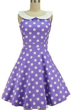 peter pan collared dottie sun dress - lavender & white polka dot | le bomb shop
