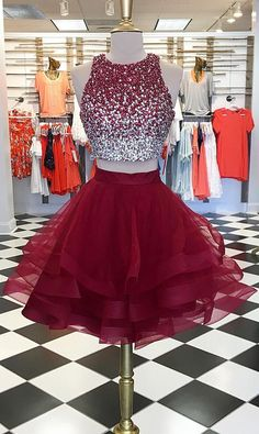 Cute sequin burgundy homecoming dress, two pieces burgundy short prom dresses, sequin beads cocktail dress
