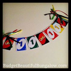 "Budget Beautiful Bungalow  High chair bunting for ""UNO"" birthday party"
