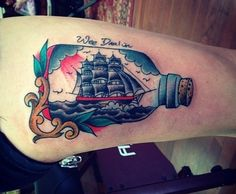 By Zach Dole at Freedom Ink, Peoria, IL. For my grandfather, who died last December.  He made ships in bottles and called me his Wee Darlin and will never be forgotten.