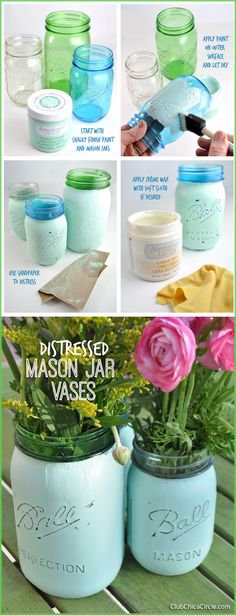 Easy Chalky Finish Distressed Mason Jar Vases @clubchicacircle