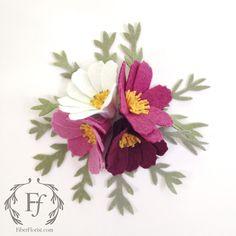 Fiber Florist felt cosmos flower boutonnieres. Handmade in Oakland, CA.