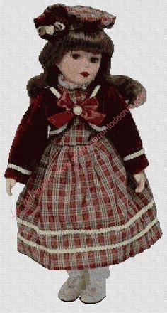 venta online grafico a punto una preciosa muñeca con chaquetilla corta, hilo marca DMC mouliné para punto de cruz, tela especial para punto de cruz: aida 14.