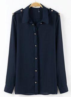 Navy Lapel Long Sleeve Epaulet Buttons Blouse US$26.89