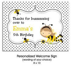 Bumble Bee Girl Printable DIY Birthday Party Invitation - any age. $8.00, via Etsy.