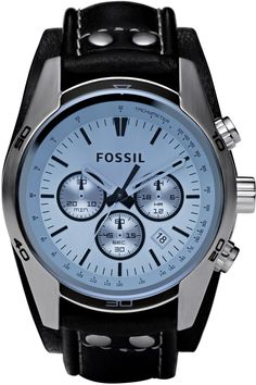 Fossil Men's CH2564 Black Leather Strap Blue Glass Silver Analog Dial Chronograph Watch < $90.00 > Fossil Watch Men