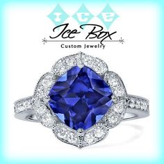 Cultured Blue Sapphire Engagement Ring 8mm, 2.9ct Cushion Cut Cultured Kashmir Blue Sapphire in a 14k White Gold Floral Diamond Halo Setting