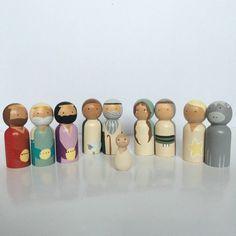 Peg Doll Nativity Set by QuinnHomemade on Etsy Nativity Peg Doll, Wooden Nativity Sets, Wood Peg Dolls, Nativity Ornaments, Wooden Pegs, Christmas Nativity, Big Knit Blanket, Jumbo Yarn, Use Of Plastic