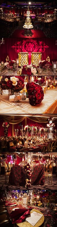 INSPO: This is soooooo incredibly gorgeous. Literally one of my favorite wedding designs I've ever seen, & I've seen A LOT! I know it might cost a lot to get sooo many roses but you only do it once so why not! Royal Wedding Themes, Royal Theme, Gold Wedding Colors, Gold Wedding Theme, Unique Wedding Themes, Reception Decorations, Red Gold, Mehndi, Wedding Designs