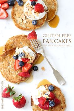 These Gluten Free Pancakes with chia and hemps seeds are amazing with a deliciously lemon flavor.  A new favorite!!
