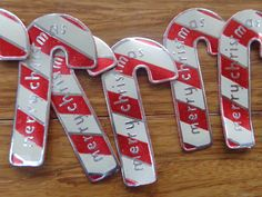 """Vintage Metal Foil Christmas """"Candy Cane"""" Gift Stickers ... """"Merry Christmas"""" on them."""