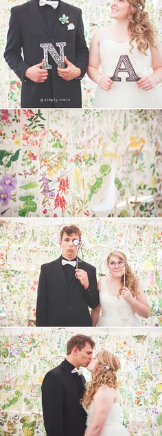 use pages ripped out of a botanical book as a photobooth backdrop