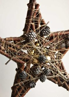 Rustic Christmas decoration Star wall hanging by florasense