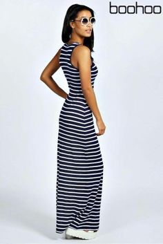 Buy Boohoo Striped Cut Away Maxi Dress from the Next UK online shop