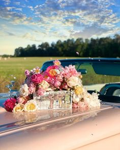 Books on pink Convertible classic car with peonies in a field in summer time   Ford Thunderbird   Flower bouquet Canterbury Classics, Aesthetic Photography Nature, Ford Classic Cars, Fancy Nancy, Black Orchid, Ford Thunderbird, Summer Photography, Pink Flowers, Summer Time