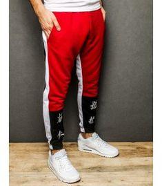 Červené pánske nohavice Parachute Pants, Sweatpants, Fashion, Moda, Fashion Styles, Fashion Illustrations