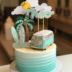 Bolo Aloha, Aloha Cake, Surf Cake, Bolo Hippie, Hippie Birthday, Cupcake Cakes, Cupcakes, Dad Cake, Ballerina Cakes