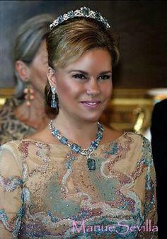 Grand Duchess Marie Teresa of Luxembourg wearing the Aquamarine Bandeau Tiara and parure