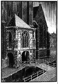 M.C. Escher - Delft - Oude Kerk