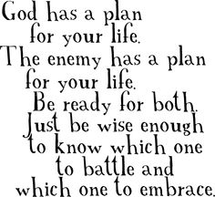 God has a plan for your life the enemy has a plan for your life