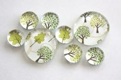 glass marble magnets. trees