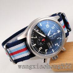 42mm Parnis Black Dial NATO Nylon Strap Men Watch Day Date Chronograph 317i | eBay