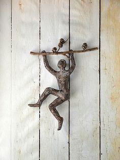 Climbing Man Wall Art miniature metal sculpture - climbing man on rope - home decor