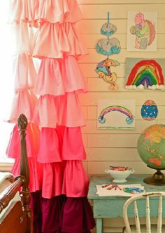 cute idea for girly curtains! Make Ombre Ruffled Curtains Using Bed Sheets (tablecloths or shower curtains) - You can use fusible webbing strip or actually sew the pieces / hgtv
