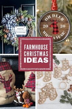 Channel your inner Joanna Gaines with these wonderful Farmhouse Christmas decor ideas... Fixer Upper inspired wreaths, rustic Holiday signs, farmhouse pillows and even a Hot Cocoa Bar! They're all gorgeous and just what you need to festive up your home this Christmas! Christmas Deserts, All Things Christmas, Christmas Decorations, Christmas Recipes, Farmhouse Christmas Decor, Rustic Christmas, Christmas Home, Hot Cocoa Bar, Holiday Signs