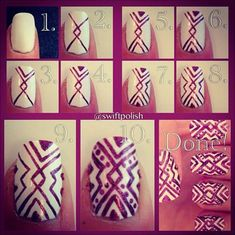 White and Red Nail Art