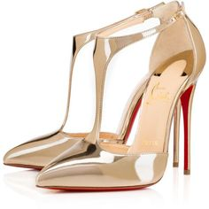 Christian Louboutin J String ($965) ❤ liked on Polyvore featuring shoes, pumps, heels, louboutin, christian louboutin, light gold, christian louboutin shoes, t strap pumps, heels & pumps and pointed toe shoes