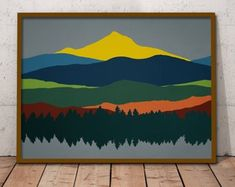 A mid century modern mountain print for the home or office. DETAILS: - Available sizes: - Printed with care on high-quality, archival grade, acid-free, cotton paper with a bright smooth finish gsm) - Rich Modern Art Prints, Modern Wall Art, Large Wall Art, Fine Art Prints, Abstract Landscape, Landscape Paintings, Art Scandinave, Image Transparent, Mountain Art