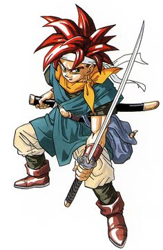 """Akira Toriyama's illustration of """"Crono,"""" the main (and silent) protagonist from """"Chrono Trigger,"""" the classic time travel console RPG released by SquareSoft for the Super Nintendo Entertainment System in 1995."""