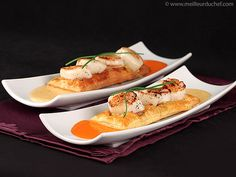 Scallops on Puff Pastry with Garlic Sauce - Meilleur du Chef Fish Recipes, Seafood Recipes, Gourmet Recipes, Sweet Recipes, Cooking Recipes, Seafood Stew, Seafood Dishes, Chefs, Food In French
