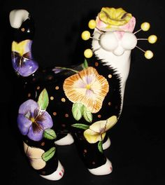 PANSY CAT Kitty Figurine by AMY LACOMBE Whimsiclay Annaco Creations 2002 | eBay