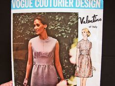 1960s Vogue Couturier Design Pattern Designer VALENTINO of Italy Mod Mini Dress Pattern Misses size 10 Vintage Sewing Pattern