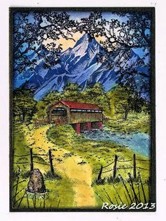 Rosie's Bastelwelt: Stampscapes.  Love the covered bridge...must buy