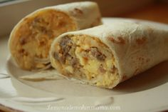 A great grab and go breakfast. I use lean pork sausage, eggs (mostly whites if I'm feeling healthy), shredded cheese and chunky salsa. Assemble into burrito, wrap each one in saran wrap and then store in a freezer bag. Freezable Meals, Healthy Freezer Meals, Make Ahead Meals, Freezer Cooking, Cooking Recipes, Healthy Recipes, Quick Meals, Simple Recipes, Cooking Ideas