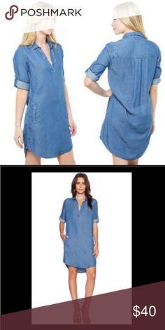 "Splendid Indigo Shirt Dress, Medium Wash 100% cotton. Unlined. Front slit pockets. Button tab sleeves. Shoulder seam to hem measures approx 35"" in length. Condition. Excellent. Worn once. Splendid Dresses Midi"