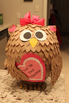 "Valentine Box - ""Owl"" be your Valentine.  Paper mache."