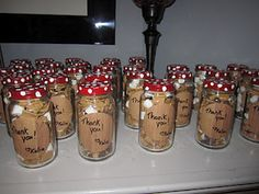 party favors -mushroom jars with smore trail mix