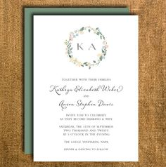 Printable Floral Wedding Invitation & Reply Card by PrettyMyParty, $20.00