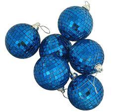 "6ct Ocean Blue Mirrored Glass Disco Ball Christmas Ornaments 2"""" (50mm)"